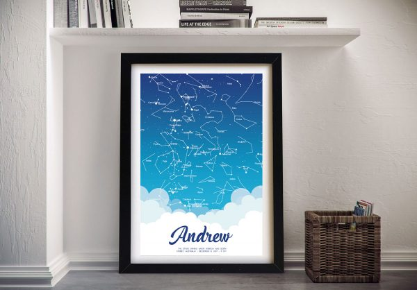 Framed Star Map for a New Arrival for Sale AU