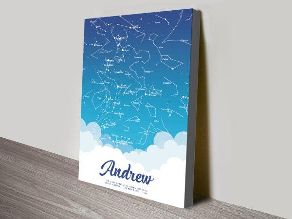 Buy a Borderless Baby Blue Custom Star Map
