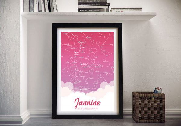 Pink Custom Star Map Art for Newborns