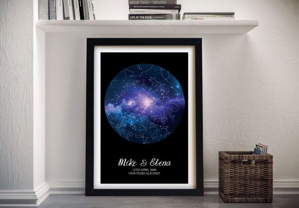 Blue Cosmos Personalised Star Chart Art