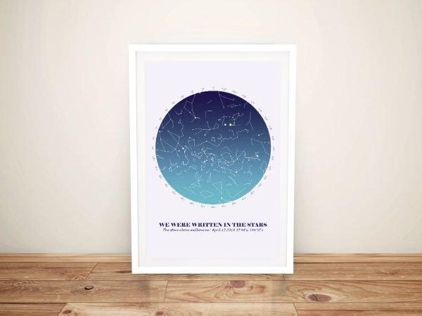Framed Blue Bespoke Star Map Ready to Hang