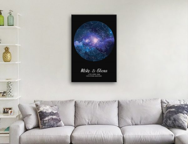Blue Cosmos Star Chart Art for All Occasions AU