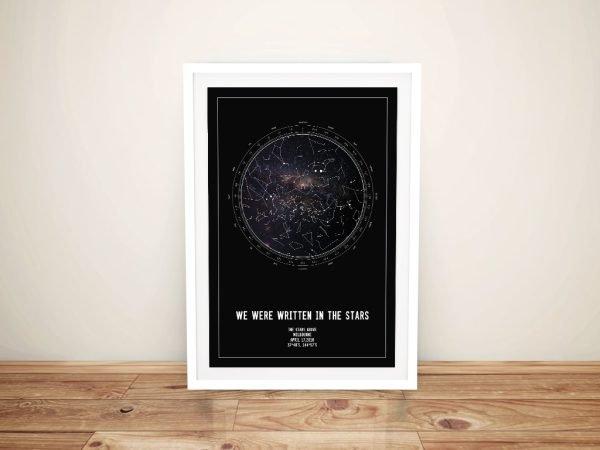 Black & Silver Personalised Star Map Print