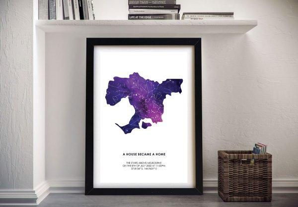 Framed Map Silhouette Custom Star Map Art