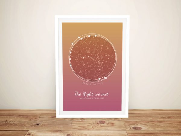 Sunset Tones Bespoke Framed Star Map
