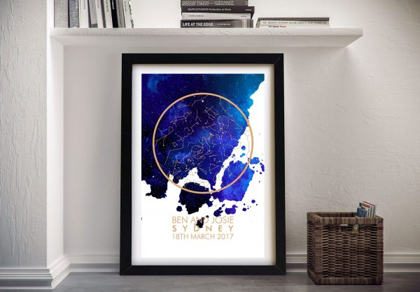 Framed Watercolour Style Star Map Wall Art