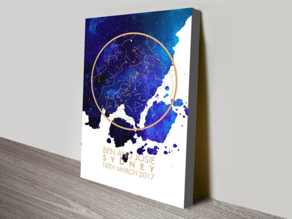 Blue Watercolour Design Star Map on Canvas