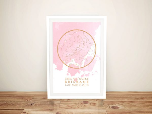 Framed Peach Watercolour Style Star Map