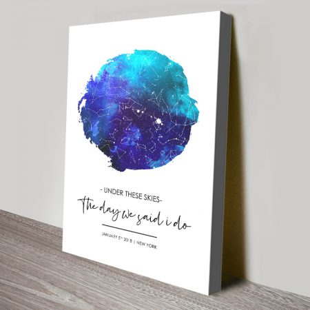 Bespoke Watercolour Star Chart Artwork