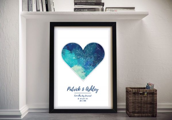 Blue Heart Star Map Personalised Wall Art