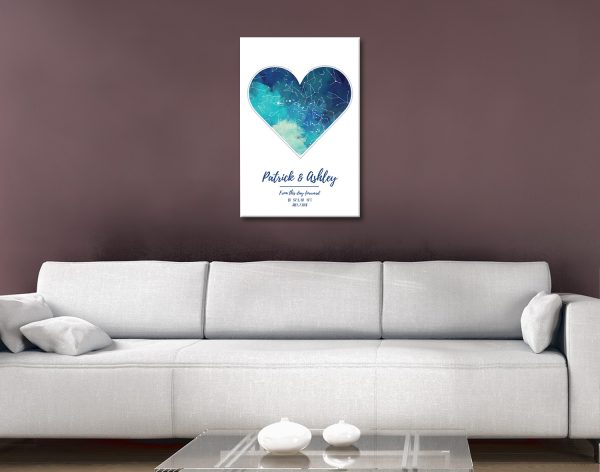 Custom Heart Star Map Wedding Gift Ideas AU