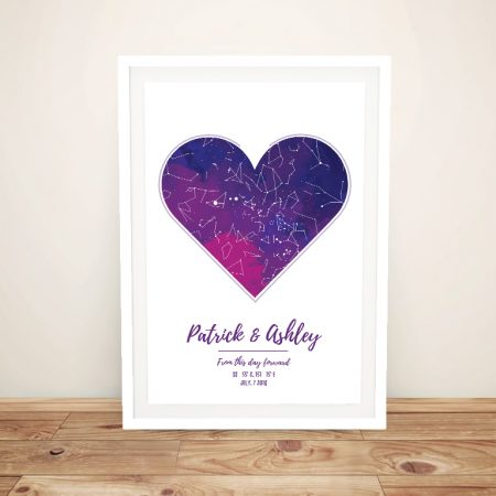 Heart Star Chart Bespoke Framed Artwork