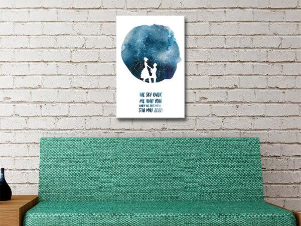 Watercolour Bespoke Star Chart Art for Sale