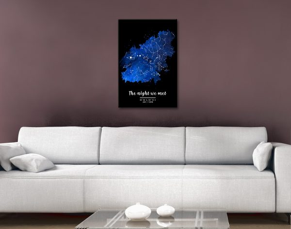 Watercolour Star Map in Blue Ready to Hang Art