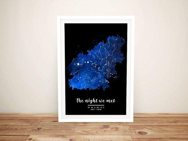 Buy a Framed Blue & Black Bespoke Star Map