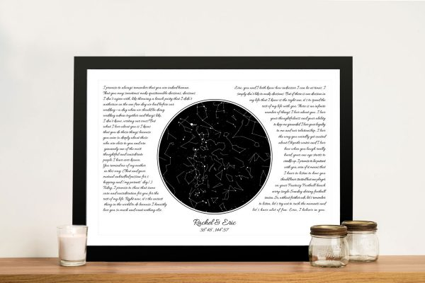 Wedding Vow Star Chart Personalised Art