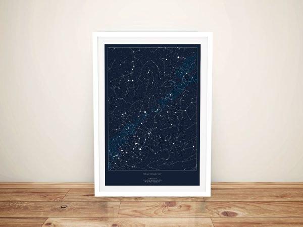 Framed Detailed Borderless Star Map Art