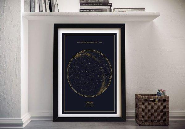 Framed Bespoke Star Map Unique Gifts Online