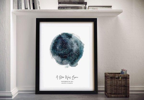 Framed Birthday Star Map Art for Sale Online