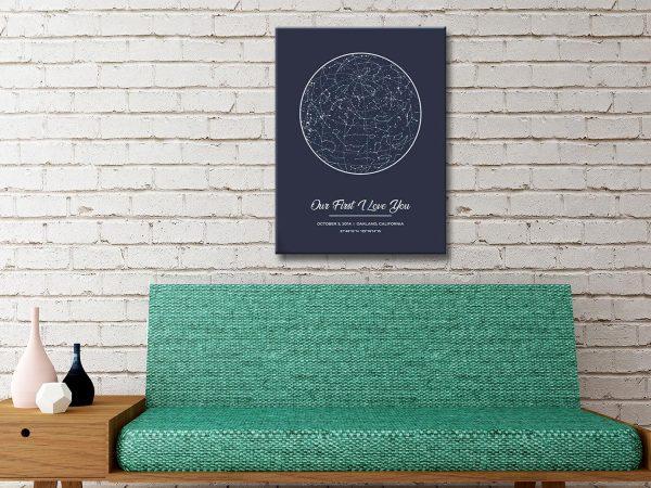 Grey Star Map Ready to Hang Bespoke Wall Art
