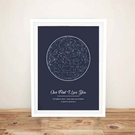 Grey Bespoke Star Map Print on Canvas