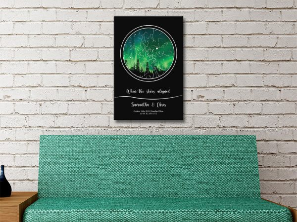 Night Sky Star Map in Green Gift Ideas AU