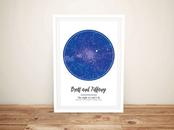 Coloured Star Map Prints on Canvas