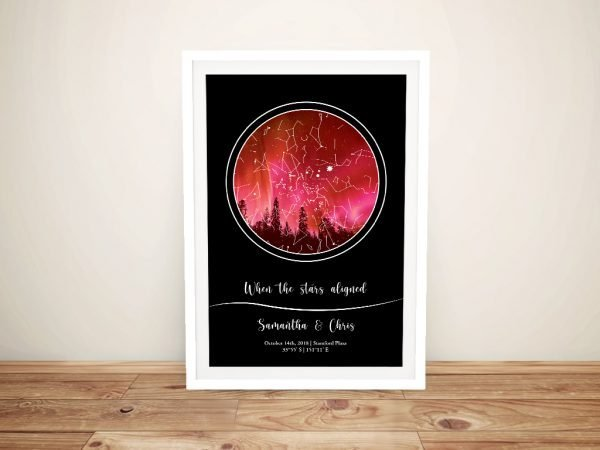 Colourful Night Sky Star Map Print on Canvas
