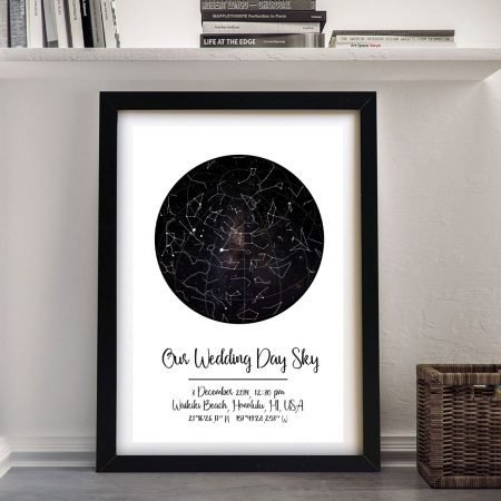 Our Wedding Day Sky Star Map on Canvas