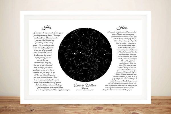Bespoke Romantic Star Map Wall Art