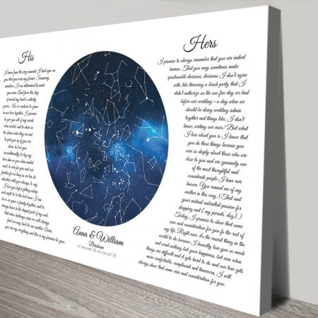 His & Hers Wedding Vows Star Map Art