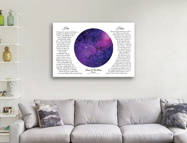 Ready to Hang Wedding Vows Star Map Art
